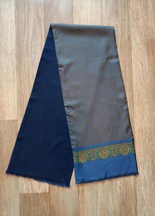 Мужской двусторонний винтажный шарф италия шелк шерсть