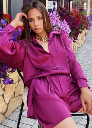Костюм двойка прогулочный рубашка шорты блуза шёлк армани малиновый фуксия