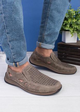 🌿 мужские серые туфли с перфорацией