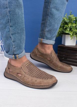 🌿 мужские бежевые туфли с перфорацией