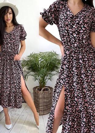 Летнее легкое свободное платье миди сарафан цветочный принт
