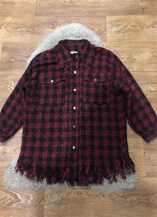 Шикарная теплая рубашка пальтишко zara