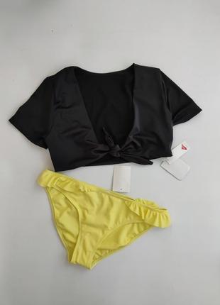 Раздельный  черный желтый купальник топ и трусики c&a eu 38 (m)
