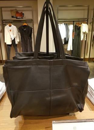 Черный макси-шоппер из мягкой кожи наппа, кожаная сумка massimo dutti! оригинал, португалия!