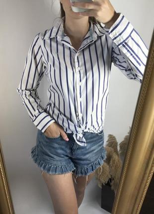 Белая рубашка в полоску 100% хлопок