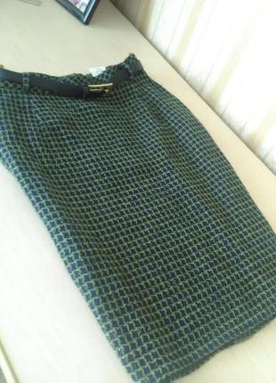 Тёплая юбка карандаш из буклированной ткани
