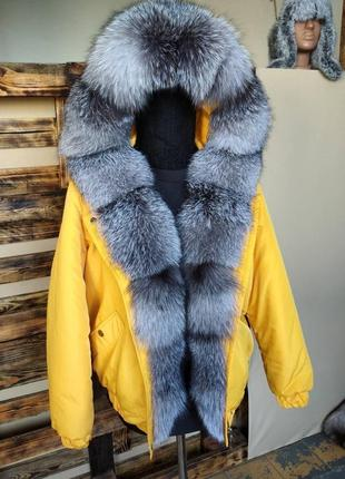 Куртка бомбер бомпер парка з натуральним хутром натуральным мехом