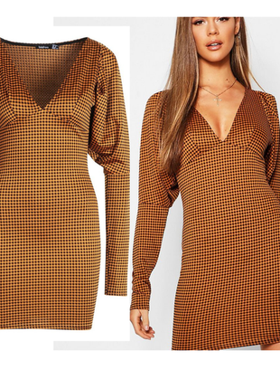Ликвидация 🔥❤️горчичное платье в клеточку с v-декольте и объемными рукавами boohoo
