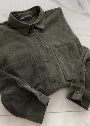 Замшевая рубашка-куртка свободного кроя zara