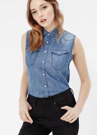 Джинсовая безрукавка жилетка блуза g star raw  tacoma  straihgt fit