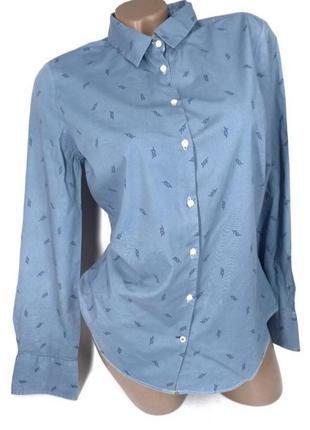 👛super sale -50%👛база голубая рубашка на пуговицах от zara size l