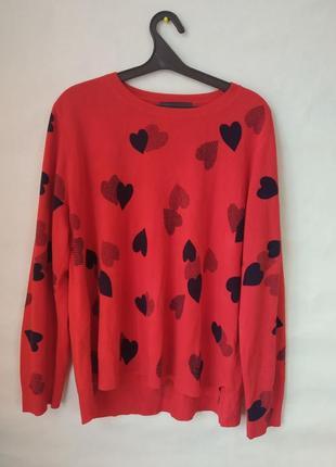 Красный свитер.кофточка с сердечками