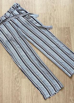 Легкие летние синие штаны в полоску atm  размер 10