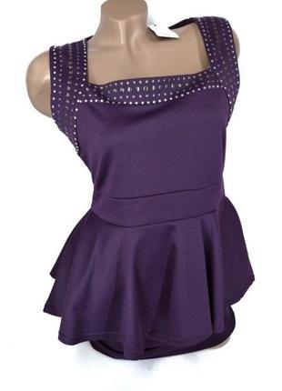 👛super sale-50%👛красивое насыщенно фиолетовое вечернее платье баска размер 14