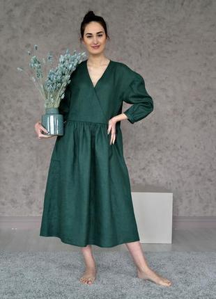 Льняное платье оверсайз, платье из льна в стиле бохо, сукня літня