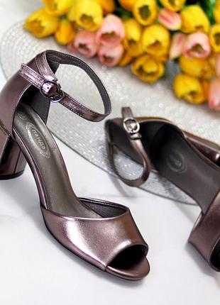 Босоножки никель на каблуке