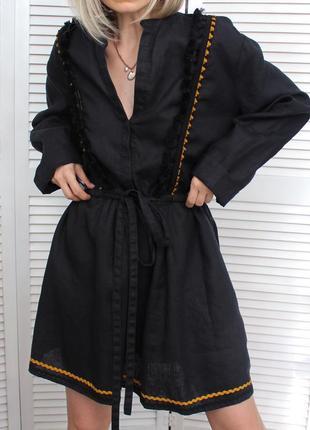 Розкішне плаття з добротного благородного чистого льону/ платье-вышиванка