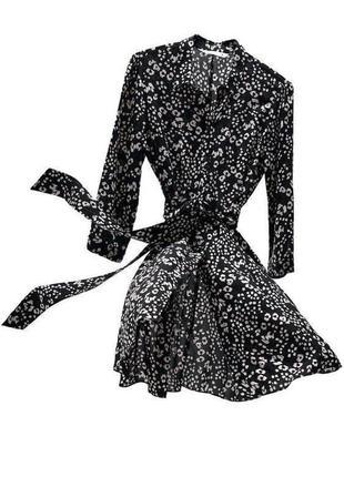 Платье в леопардовый принт с поясом zara