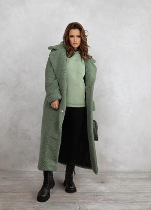 Мятное удлиненное шерстяное пальто