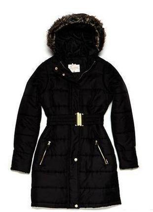 Чёрная зимняя длинная куртка chillin cropp town