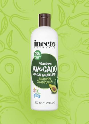 Inecto,  питательный шампунь с авокадо, 500 мл.