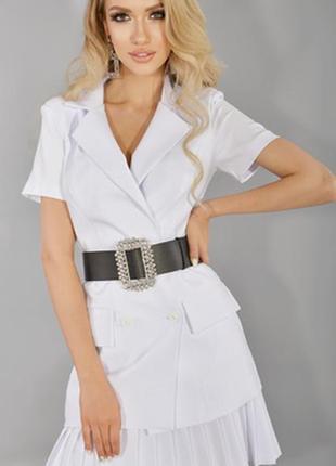 Стильный костюм с юбкой в складку (м-0503)