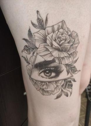 Татуировка, временная, tatoo, глаз, девушкач цветы