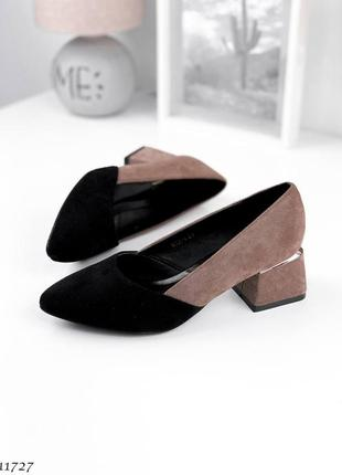 Туфли =meideli=, цвет: black+beige,, экозамша
