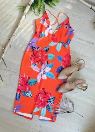 Сукня вечірня оранжева в реальності в квітковий принт