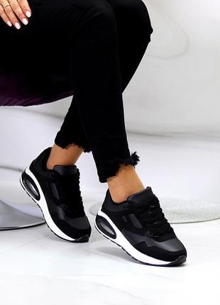 Комфортные повседневные молодежные черные женские кроссовки на шнуровке