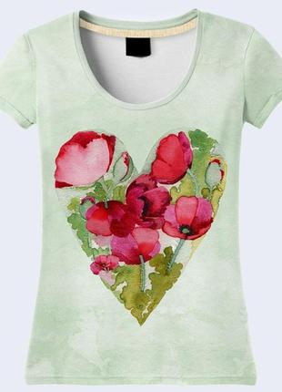 3d футболка цветочное сердце