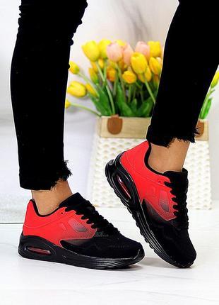 Эффектные повседневные молодежные черные красные женские кроссовки омбре
