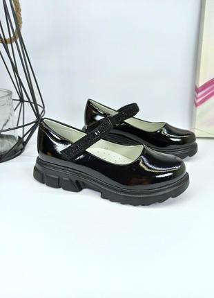 Туфли для девочки школьные чёрные