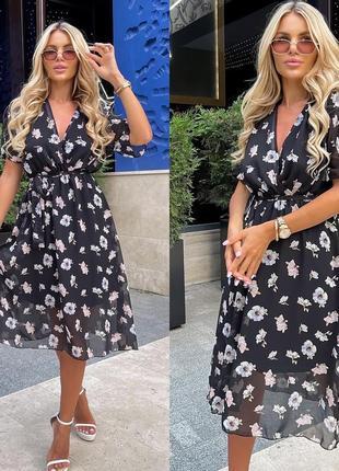 Женское платье миди цветочный принт шифон