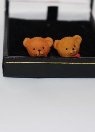 Красивые нежные детские серьги мишки с бантом бижутерия 3,1 грамм винтаж