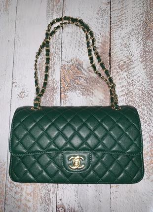 Стильная зелёная сумка шанель chanel