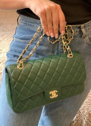 Модная сумка шанель chanel зелёного цвета