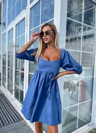 Летнее катонновое платье с пышным рукавом💙