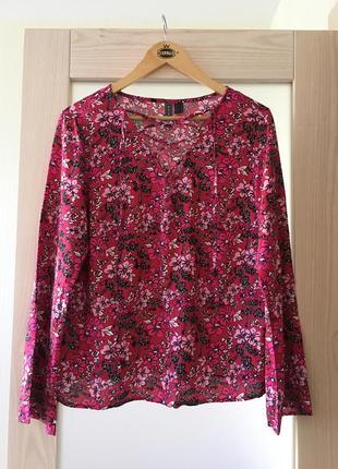 Стильная натуральная качественная блуза цветочный принт rainbow