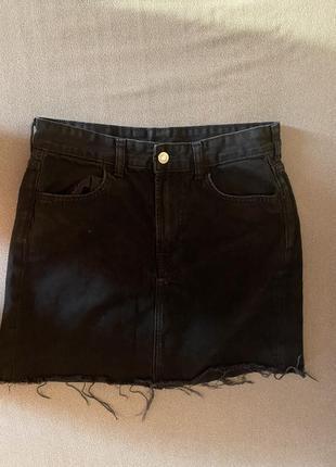 H&m чёрная джинсовая юбка
