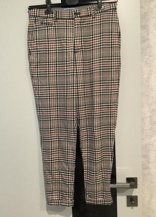 Zara man мужские укороченные штаны чиносы в клетку размер s-м