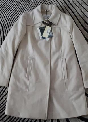 Новое шертяное пальто geox respira 100% шерсть пудровое полупальто пудра