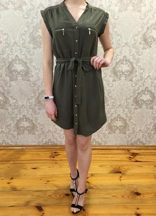 Хаки сарафан с пояском платье в рубашечном стиле