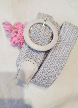 Эластичный белый пояс резинка плетеный ремень