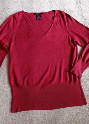 Тонкий пуловер шёлк хлопок кашемир цвет красное яблоко
