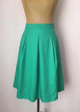 Летняя юбка из хрустящего полированного хлопка красивого зеленого цвета от cos, размер 40, укр 46-48