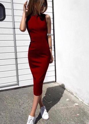 Стильное дайвинговое облегающее платье , бордовое, красное