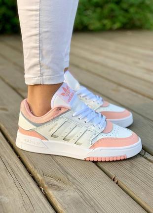 Adidas drop step 'pink' женские кожаные кроссовки белого цвета