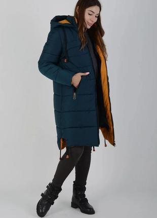Теплая фабричная зимняя актуальная куртка маренго 143 морская волна, р 44-58