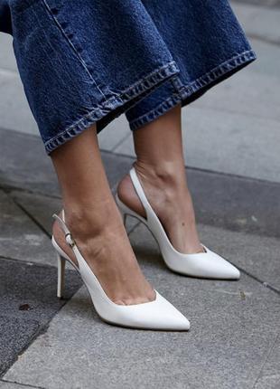 Белые босоножки из натуральной кожи 10 см каблук 🤍